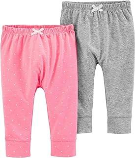 Carter's Baby Girls' 2 Pack Babysoft Pants- Pink Hearts/Grey