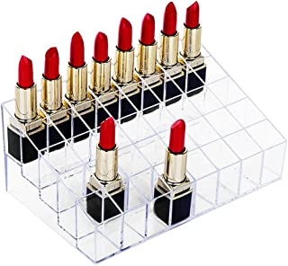 hblife Lipstick Holder, 40 Spaces Clear Acrylic Lipstick Organizer Display Stand Cosmetic Makeup Organizer for Lipstick, Brushes, Bottles, and More