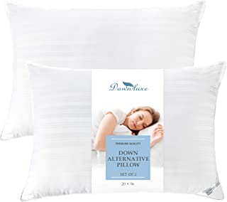 downluxe Bed Pillows for Sleeping - 2 Pack Luxury Plush Down Alternative Pillows - Made in USA(King,20