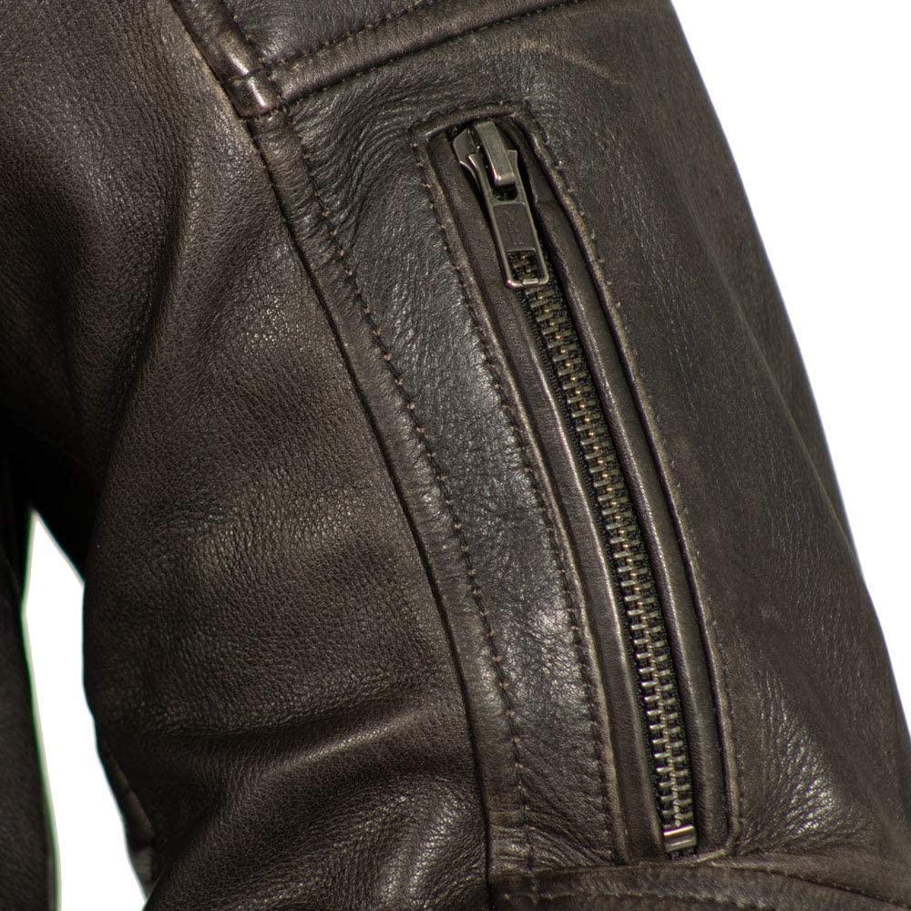 Brown, Medium First Mfg Co Mens Indy Vented Zipper Chest Pockets Leather Jacket First Manufacturing Company FIM278CV-M-ABR