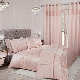 Sleepdown Parure de lit de Luxe avec Housse de Couette et taies d'oreiller Motif Feuilles et Feuilles Rose pâle 260 x 230 cm