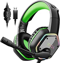 EKSA 7.1 USB Gaming Headset - Surround Stereo Sound - PS4 Headphones with Noise Canceling Mic & RGB Light Over Ear Headpho...