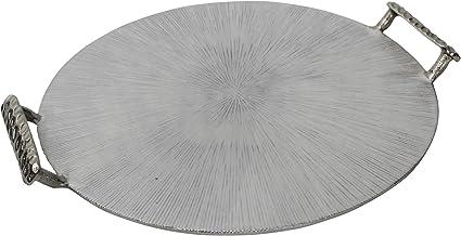 "Sagebrook Home 15232-02 Metal 18"" Round Tray W/Handles, Silver"