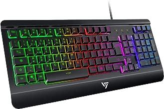 VicTsing Tastiera Gaming PC e Ufficio, Tastiera Retroilluminazione Regolabile Multicolore - Pannello Metallico - Ultrasottile. Layout Italiano, per PC PS4 Xbox