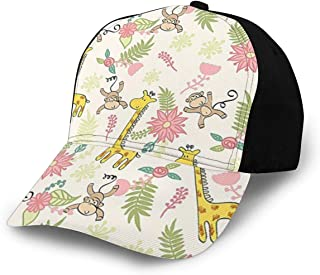 JOSEPH TINDALL Baseball Cap for Men and Women - Classic Comfortable Adjustable Flat Cap for Recreation-CuteGiraffe Monkey Pink
