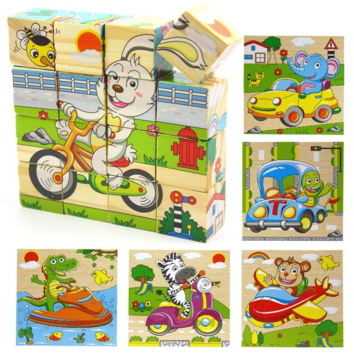 PROW Wooden 3D Cube Block Jigsaw Baby Toddler Kids Toys Safe Wood Building Blocks Puzzles -16 Pcs (Animal Traffic Series)