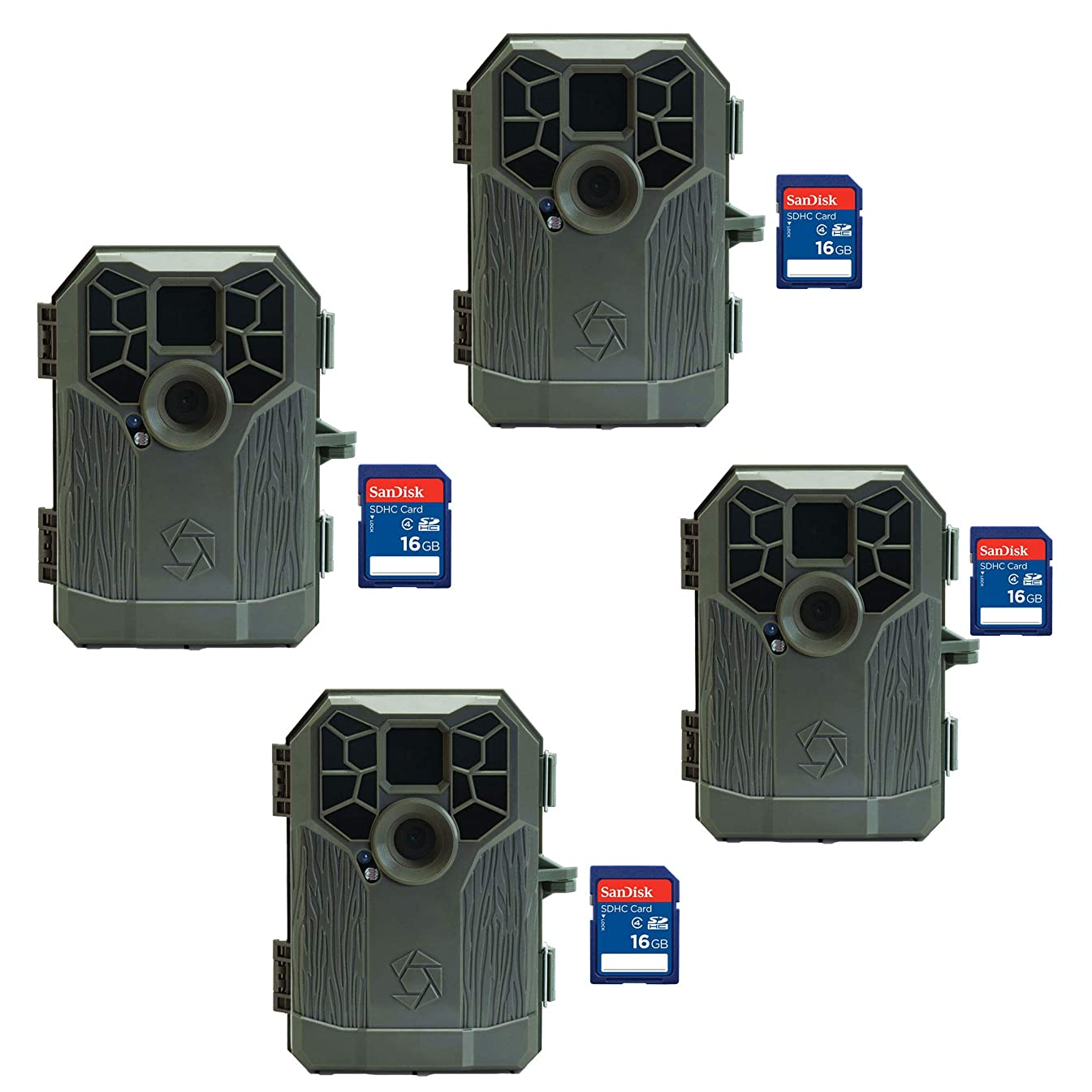 Stealth Cam Video Audio Photography Hunting Game Trail Camera, 4 Pack + SD Cards