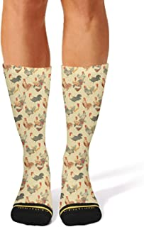 Floowyerion Mens Chick and rooster Novelty Sports Socks Crazy Funny Crew Tube Socks