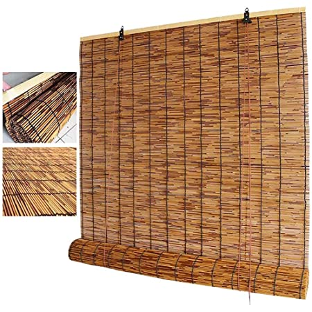 Natural Bamboo Roller Blinds Hand-Woven Reed Curtain,Partition Light Filtering Breathable Straw Curtain,Lifting Bamboo Roll Up Window,for Restaurant Corridor Bedroom 50x60cm//20x24in