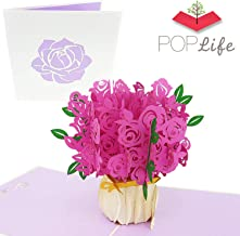 PopLife Pink Rose Bouquet 3D Pop Up Mothers Day Card - Anniversary Pop Up Valentines Day, Happy Birthday, I'm Sorry - Gift for Her - Folds Flat for Mailing - for Mom Mother, for Daughter, for Wife