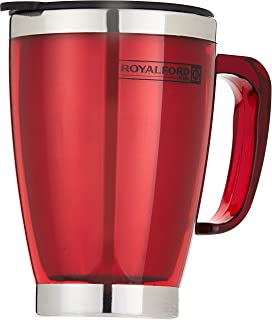 Royalford 14OZ Double Wall Travel Mug - Portable with Comfortable High Grip Handle, & High-Grade Stainless Steel Inner | H...