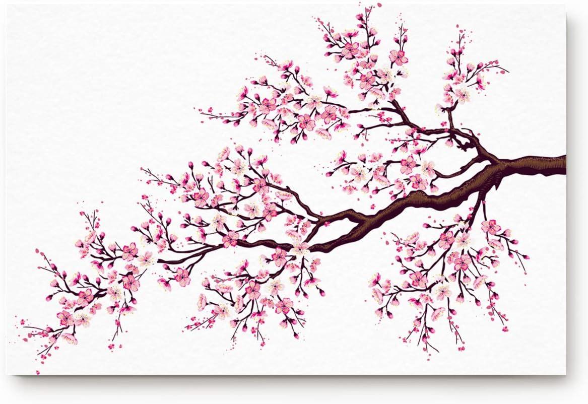 Amazon Com Welcome Entrance Doormat For Indoor Cherry Blossoms Branch Of A Flourishing Sakura Tree Flowers Spring Theme Design Luxury Non Slip Rubber Cushioned Floor Mat For Front Door Bedroom Living Room Decor Home Kitchen