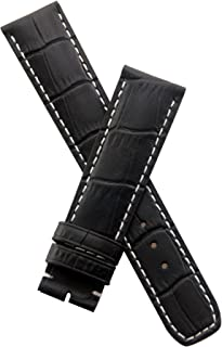 Black Leather Crocodile-Effect Watch Band with White Stitching to fit Baume & Mercier Capeland Models requiring a 20 mm Strap