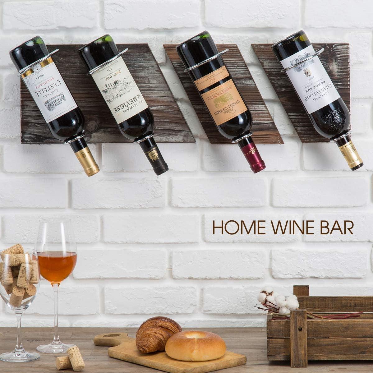 MK490A J JACKCUBE DESIGN Rustic Wood and Metal Wine Rack Set of 3 Wall Mount 4 Bottles Vintage Storage Holder for Home Bar Living Room Kitchen