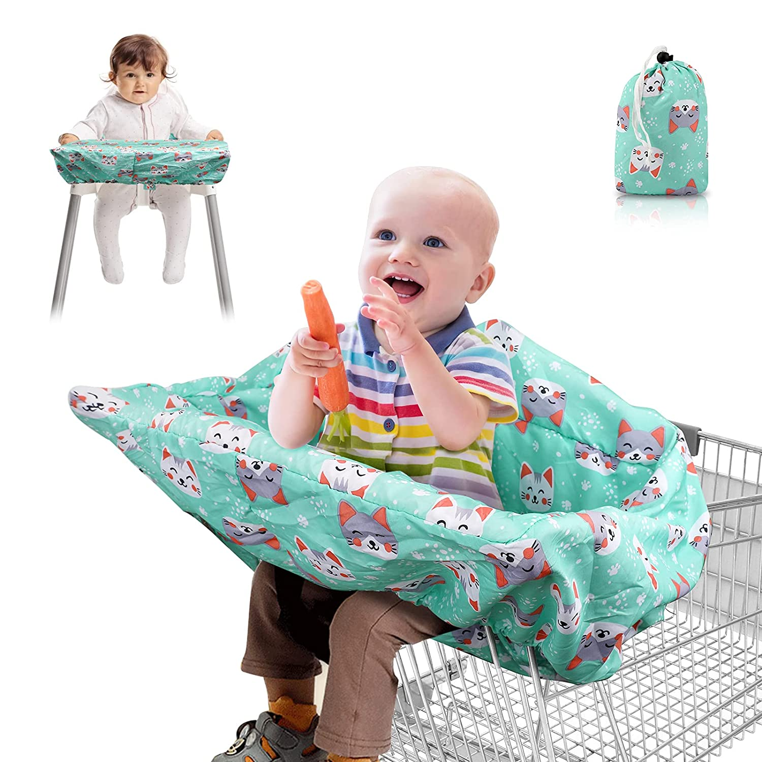 Lybile 2-in-1 Shopping Cart Cover and High Chair Cover for Baby Toddler Grocery Cart Cover Seat Pad Full Safety Harness Trolley Highchair Cover Machine Washable Baby Trolley Cover Foldable Storage