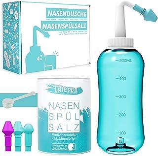 Neusdouche Set · 120x neusspoelzout (300g) · doseerlepel (1g) · 3 opzetstukken voor volwassenen en kinderen · Tampen hygië...
