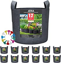 JERIA 12-Pack 5 Gallon, Vegetable/Flower/Plant Grow Bags, Aeration Fabric Pots with Handles (Black), Come with 12 Pcs Plan...