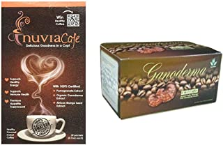 Nuvia Coffee Healthy Gourmet Instant Coffee (Box of 30 Sachets) Bundle with Ganoderma 4 in 1 Fine Coffee Brazilian Coffee with Cream and Sugar Already Added (Box of 20 Sachets)