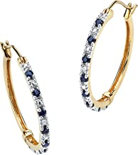18K Yellow Gold over Sterling Silver Round Genuine Blue Sapphire and Diamond Accent Hoop Earrings (27mm)