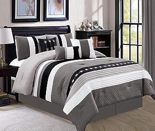 JBFF Oversize Stripe 7 Piece Luxury Micofiber Bed in Bag Microfiber Comforter Set (Cal King, Black)
