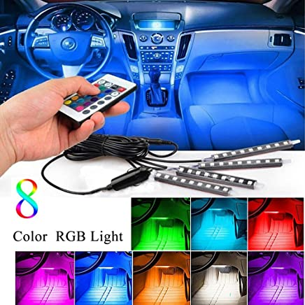 LED Interior Car Lights,Karono 4pc. Multi-Color Music LED Car Inside Light Underdash Lighting Atmosphere Decoration Accessories kit - Sound Active Function - Wireless Remote Control,DC 12V