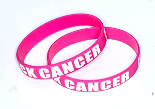RockNerdy Silicone Rubber Wristbands for Cancer Awareness - Motivational Inspirational Bracelets for Cancer Survivor Fighter Patient Gift - Adult Size Band for Men Women Teens (Pink)