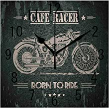 GULTMEE Square Wall Clock Home Decorative, Born to Die Quote with Bike on Grunge Effect Dark Colored Background, 7.8