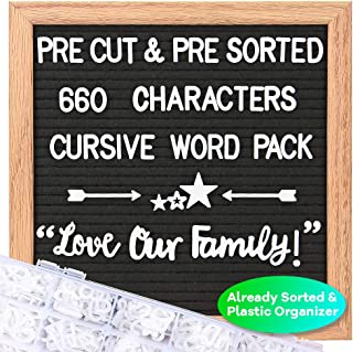 Felt Letter Board with Letters – Cursive Word Pack, Pre Cut & Sorted 660..