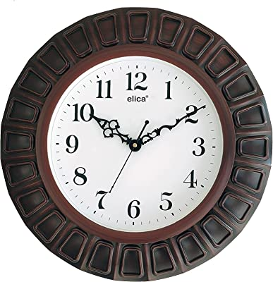 Elica Vintage Sweep Silent Plastic Wall Clock for Home and Office ( Big Size 35 x 3 x 35 cm , Black, Cola)