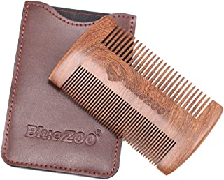 Baoblaze Sandalwood Beard Comb & Leather Case Anti-Static Pocket Comb with Fine & Coarse Teeth For Beard Hair & Mustaches-Perfect With Balms And Oils - Brown