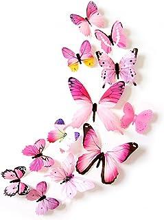 Oblique-Unique® Lot de 12 papillons décoratifs - Décoration colorée - Sticker mural (rose)