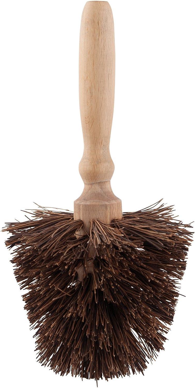Redecker Palmyra Fiber Flowerpot Brush with Oiled Beechwood Handle, 9-7/8-Inches