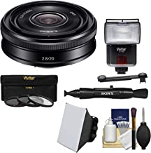 Sony Alpha E-Mount 20mm f/2.8 Wide-Angle Pancake Lens with Flash + Soft Box + Diffuser + 3 Filters Kit for A7, A7R, A7S Mark II, A5100, A6000, A6300