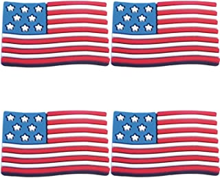 Four (4) of USA American Flag Rubber Charms for Wristbands and Shoes