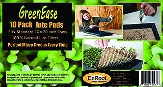 GreenEase Jute Microgreens Hydroponic Grow Pads - 10 Pack, Fits 10x20 standard nursery tray. Grow nutritious Organic Microgreens, Wheat grass, Plant and Seed germination. Organic Use Certified.