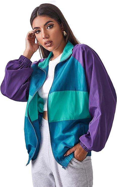 1980s Clothing, Fashion | 80s Style Clothes SweatyRocks Womens Lightweight Windbreaker Patchwork Zipper Sport Jacket Coat Outerwear  AT vintagedancer.com