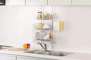 キッチンを傷めない 日本製 突っ張り マルチラック 高さ調整可能 シンク周りがスッキリ (外寸横幅37.5cm 3段)...