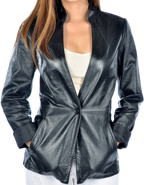 Fadcloset Olivia Womens Leather Blazer