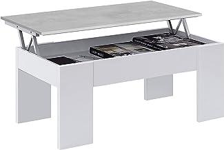 Habitdesign 0L1640A Mesa de Centro elevable, mesita de Comedor, Blanco Artik y Gris Cemento, 100 x 50 x 45-56 cm
