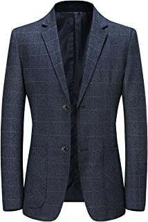 YOUTHUP Mens Slim Fit Blazer Formal Business Check Suit Jacket Casual 2 Button Plaid Blazers