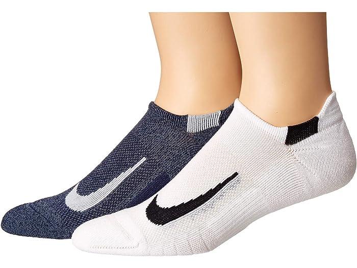 básico tira Confundir  Nike Multiplier Running No Show Socks 2-Pair Pack | Zappos.com