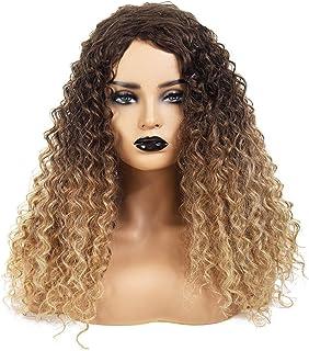 Yrattary 18インチアフロカーリーヘアブラウンルーツグラデーションブロンドの抵抗力のある髪の人工毛ウィッグウィッグ (Color : Blonde)