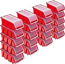 Stapelboxen Set – 20x stapelbox met deksel 155x100x70 mm – kijkbox stapelbox opbergbox, rood