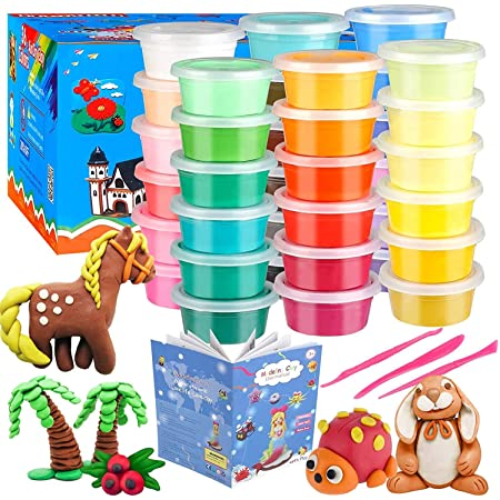 Ifergoo Modeling Clay Kit - 36 Colors Magic Air Dry Ultra Light Clay, Safe & Non-Toxic, Great Gift for Children.