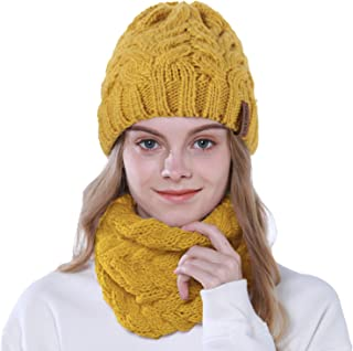 Lorfancy 2 Pcs Winter Beanie Knit Hat Scarf Set Slouchy Cable Chunky Baggy Snow Hat Thick Soft Warm Skull Skip Cap for Women