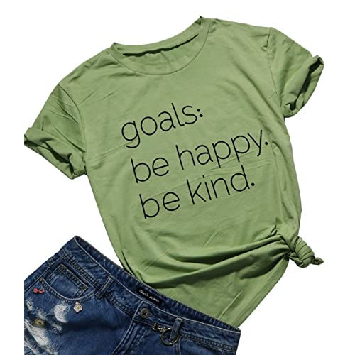 a308d0ff730 Be Happy Be Kind Funny Graphic T-Shirt Women Casual Letter Print Tee Tops  Blouse