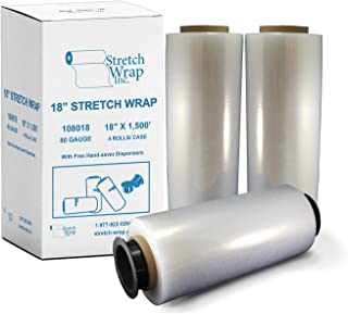 Stretch Wrap Inc Stretch Wrap Film Hand Wrap Plastic Clear with 80 Gauge 18'' Wide x 1500 feet Long (4 Rolls)