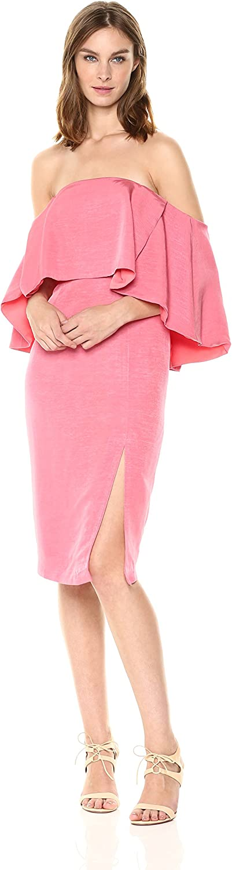 Elliatt Women's Apparel Womens Tonic Cold Shoulder Fabric Overlay Midi Dress with Side Slit Cocktail Dress