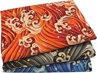 iNee Japanese Sea Wave Fat Quarters Fabric Bundles, Sewing Quilting Fabric, 18 x22 inches, (Multicolor)