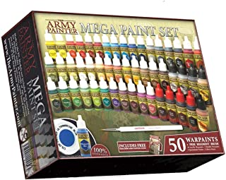 The Army Painter Miniature Painting Kit with Bonus Wargamer Regiment Miniature Paint Brush - Acrylic Model Paint Set with 50 Bottles of Non Toxic Model Paints - Mega Paint Set 3